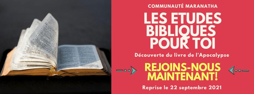 Etudes Bibliques - Reprise le 22/09/2021